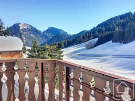 Un studio avec coin montagne, balcon et un casier à ski